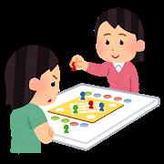 ボードゲームで遊ぶ人のイラスト(女性)