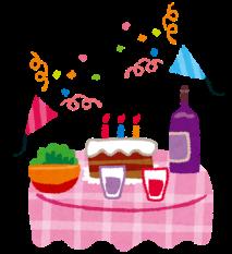 パーティーのテーブルのイラスト「ケーキとワインとクラッカー」