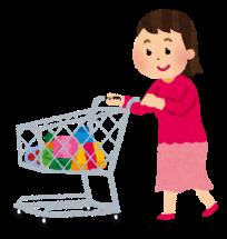 ショッピングカートを押している女性のイラスト