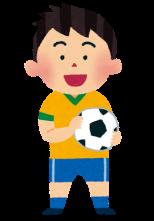 サッカー少年のイラスト「ブラジルのユニフォームを着た男の子」